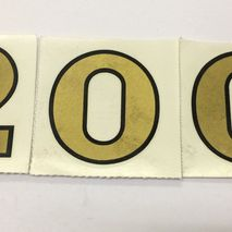 "Gold ""200"" Decorette reproduction stickers 2"" (50 mm)"