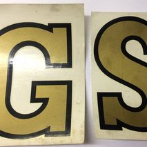 "Gold ""GS"" legshield Decorettes 5"" (127 mm)"