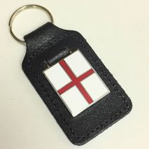St George's Cross enamel badge leather key fob ring