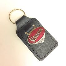 Vespa enamel badge leather key fob ring Red