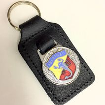 Abarth enamel badge leather key fob ring