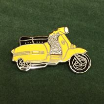 Lambretta GP cut out enamel lapel pin badge yellow