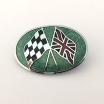 Crossed flags enamel lapel badge
