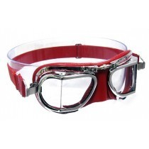 Red compact leather and chrome goggle by Halcyon